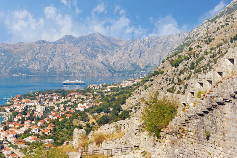 Kotor city and Boka Kotorska Bay from the city walls. Montenegro stock photography