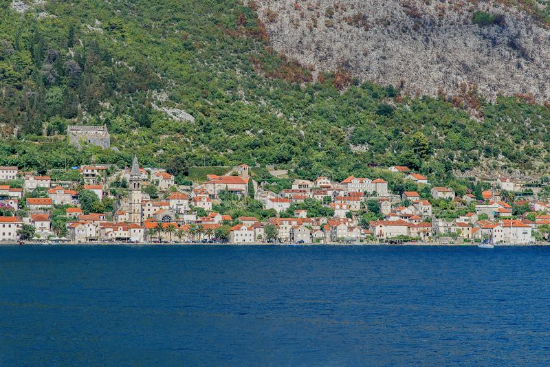 Kotor, a coastal town in Montenegro. City landscape, view from the Adriatic Sea royalty free stock photos