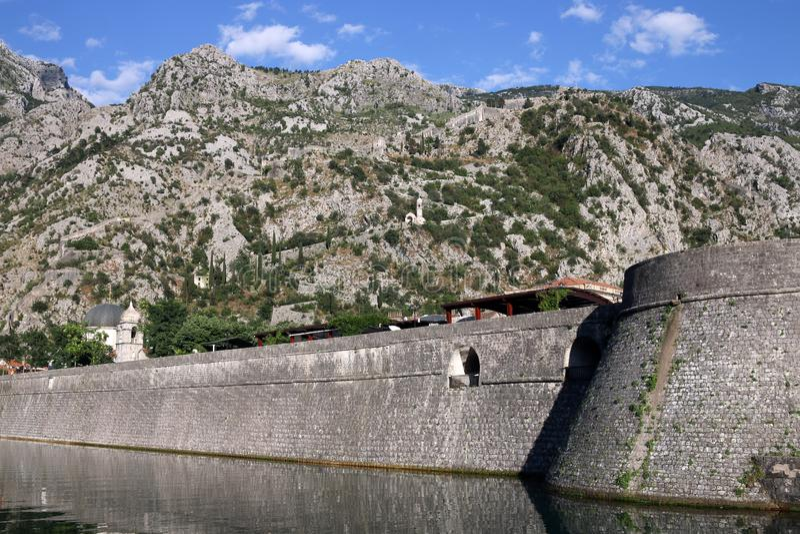 Kotor fästning Montenegro arkivbilder
