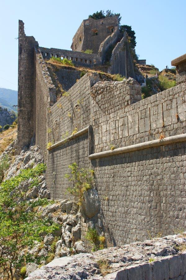 Kotor fortress ruins stock images