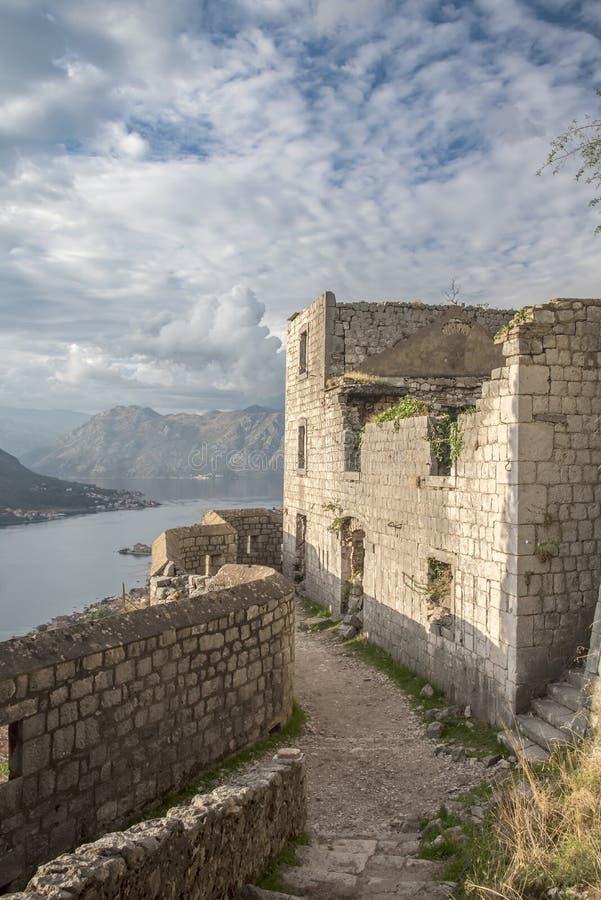 Kotor Fortress Ruins Overlooking the Bay royalty free stock photos