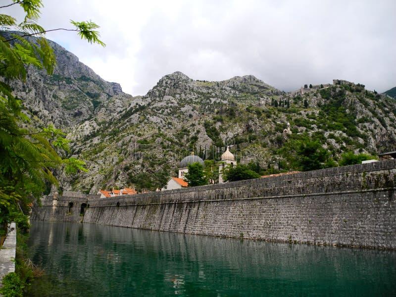 Kotor miasteczka ściany i Adriatycki morze Montenegro zdjęcia stock