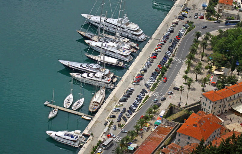 kotor montenegro端口海运 库存照片