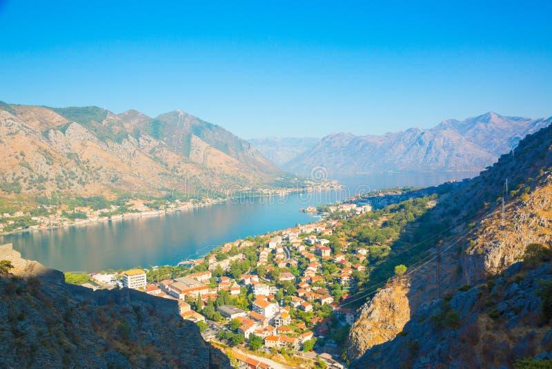 Boka Kotorska bay. Montenegro. Kotor, Montenegro. Beautiful landscape. Scenic top view on one of the most popular places on Adriatic Sea. Boka Kotorska bay in royalty free stock images