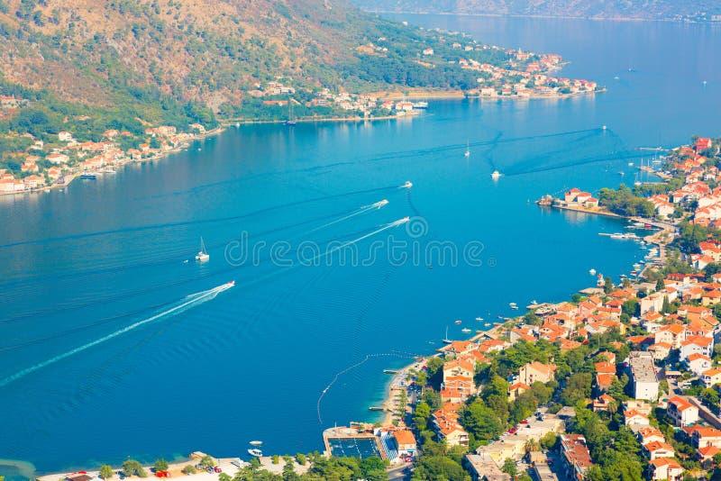 Boka Kotorska bay. Montenegro. Kotor, Montenegro. Beautiful landscape. Scenic top view on one of the most popular places on Adriatic Sea. Boka Kotorska bay in royalty free stock photo