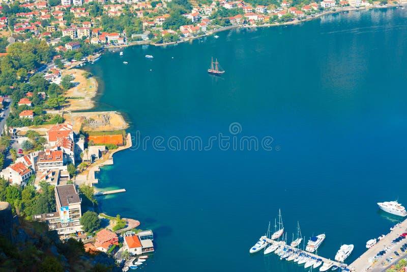 Boka Kotorska bay. Montenegro. Kotor, Montenegro. Beautiful landscape. Scenic top view on one of the most popular places on Adriatic Sea. Boka Kotorska bay in stock photography