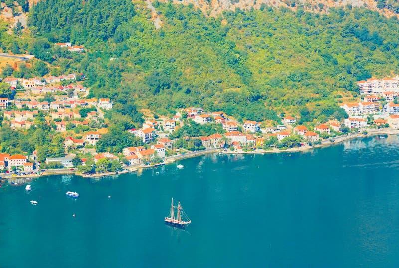 Boka Kotorska bay. Montenegro. Kotor, Montenegro. Beautiful landscape. Scenic top view on one of the most popular places on Adriatic Sea. Boka Kotorska bay in stock photos
