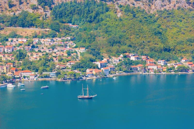 Boka Kotorska bay. Montenegro. Kotor, Montenegro. Beautiful landscape. Scenic top view on one of the most popular places on Adriatic Sea. Boka Kotorska bay in stock photo