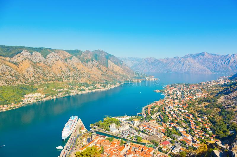 Old town Kotor and Boka Kotorska bay, Montenegro. Kotor, Montenegro. Beautiful landscape. Scenic top view on one of the most popular places on Adriatic Sea. Old stock photography