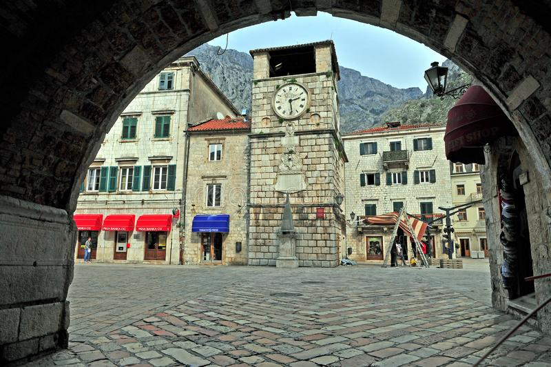 View of the square in Kotor old town. KOTOR, MONTENEGRO - MARCH 18: View of the square in Kotor old town on March 18, 2017 stock photo