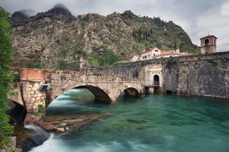 Kotor, Montenegro. Old stone bridge across Scurda river royalty free stock photography