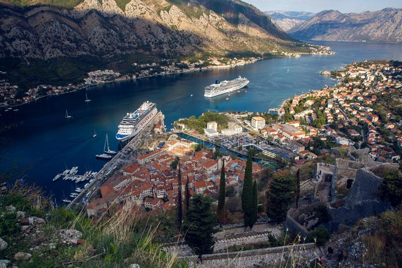 View on autumn Bay in the town of Kotor royalty free stock photo