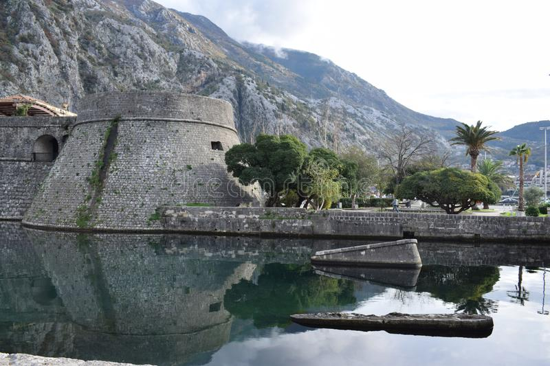 Kotor, Montenegro, view of the Old town tower royalty free stock photo