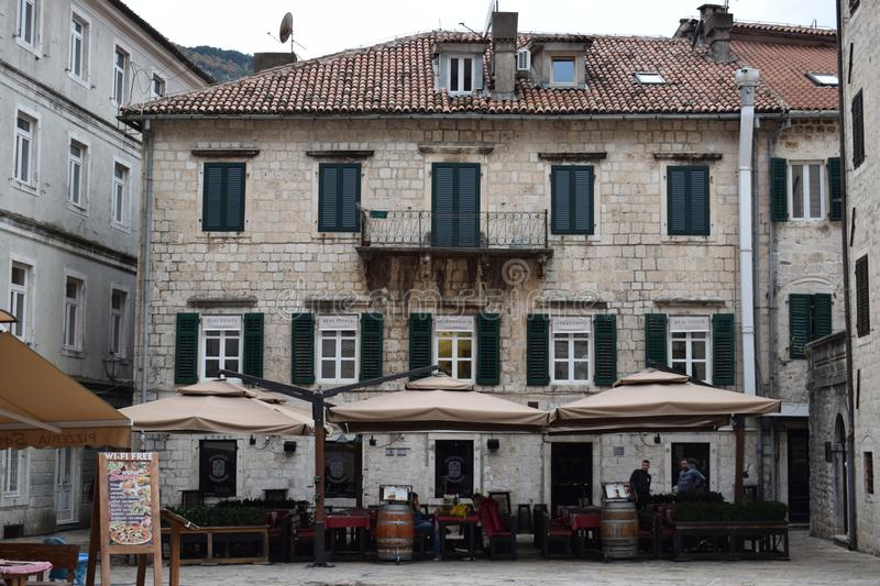 Kotor Old City Coffee Building stock images