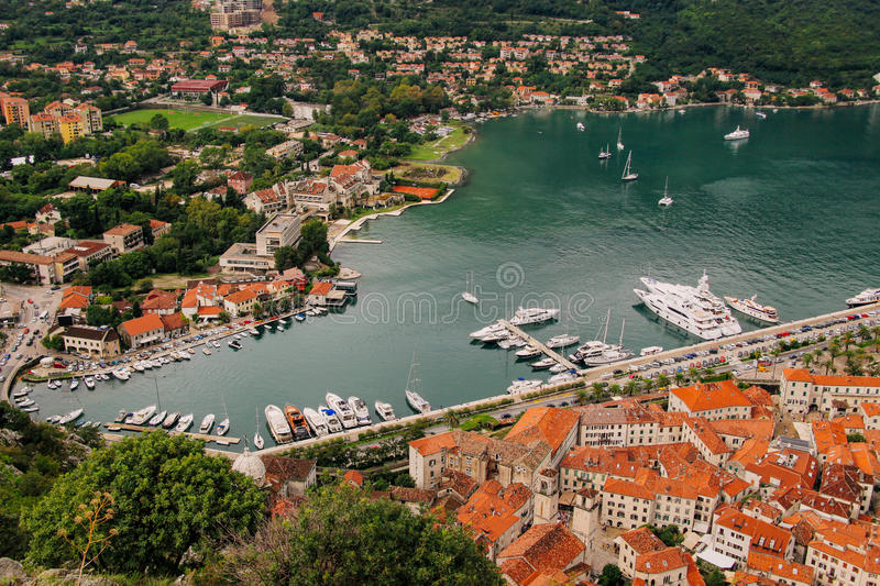 Kotor old town a bird's-eye view royalty free stock photography
