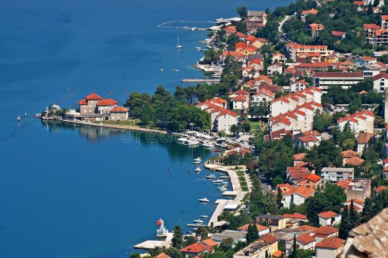 Kotor old town and Boka Kotorska bay, Montenegro. Mediterranean country royalty free stock photo