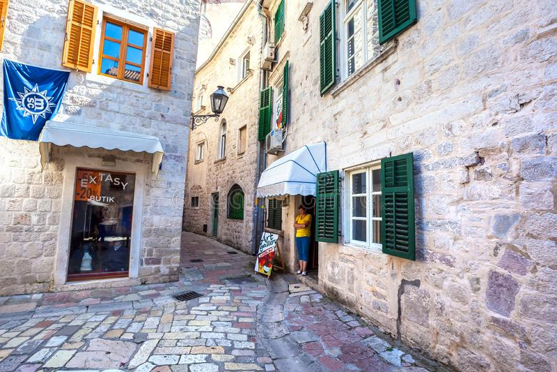 Kotor Oude Stad, Montenegro - Augustus 2014 royalty-vrije stock fotografie