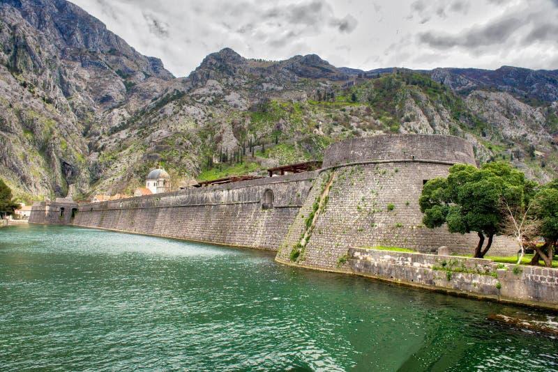Kotor ummauert Montenegro stockbilder