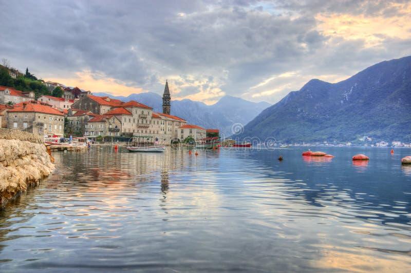 Kotorbaai en Perast in Montenegro royalty-vrije stock foto's
