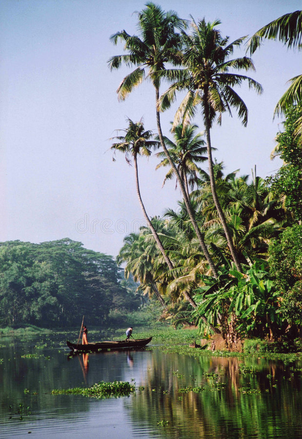 Kottayam scene. Daily scene in Kottayam on back waters of Kerala, India stock images