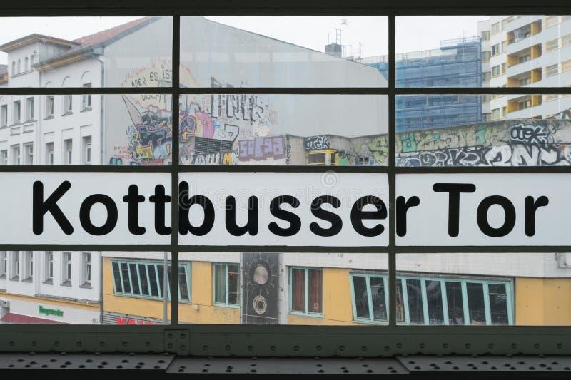 Kottbusser Tor in Berlin, Kreuzberg. Berlin, Germany - February 19, 2017: Subway station sign at Kottbusser Tor in Berlin, Kreuzberg stock photography