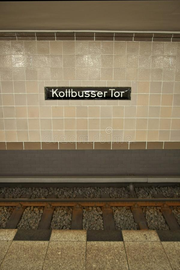 Kottbusser Tor. The iconic sign in the underground station of kotti in Berlin stock photos