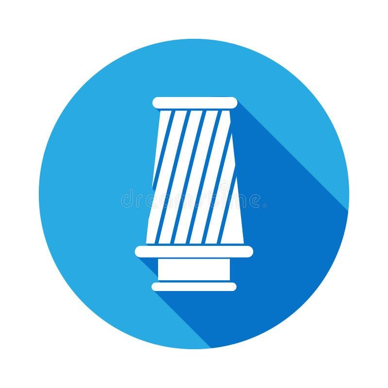 Kottefiltersymbol med lång skugga Beståndsdel av illustrationen för bilreparationsservice Tecken och symbolsymbol för websites, r stock illustrationer