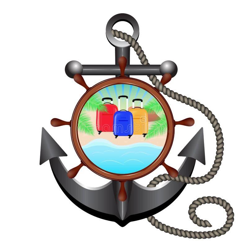 Kotwica, arkana, ster i porthole z morze krajobrazem, plaża ilustracja wektor
