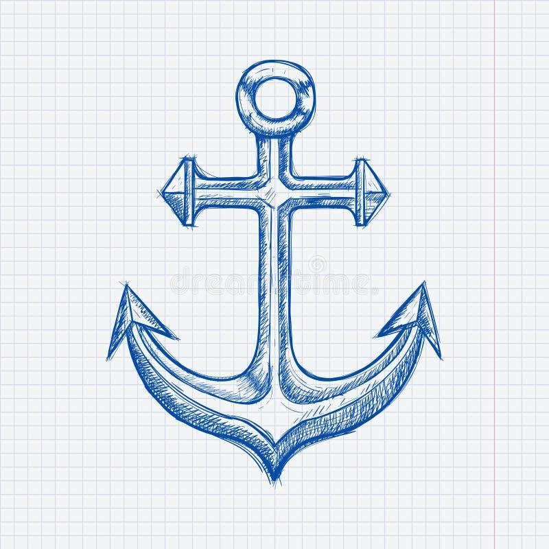 kotwica Błękitna ręka rysujący nakreślenie na prążkowanym papierowym tle ilustracji