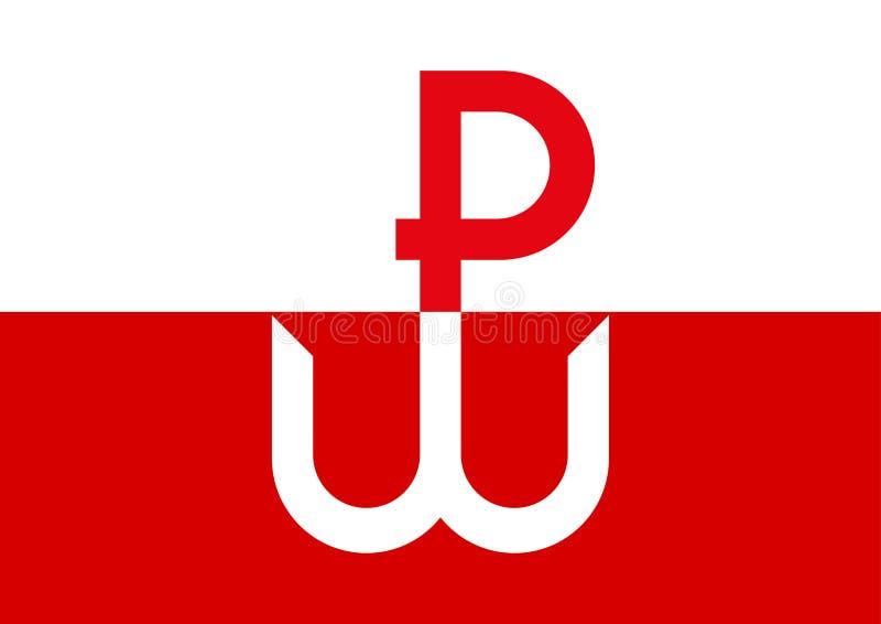 Kotwica, het symbool en het embleem van de Poolse Ondergrondse Staat en Opstand van Warshau tijdens Wereldoorlog II royalty-vrije illustratie