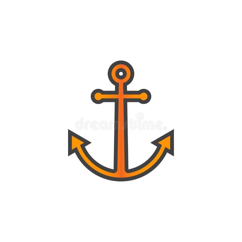 Kotwicowa kreskowa ikona, wypełniający konturu wektoru znak, liniowy kolorowy pi royalty ilustracja
