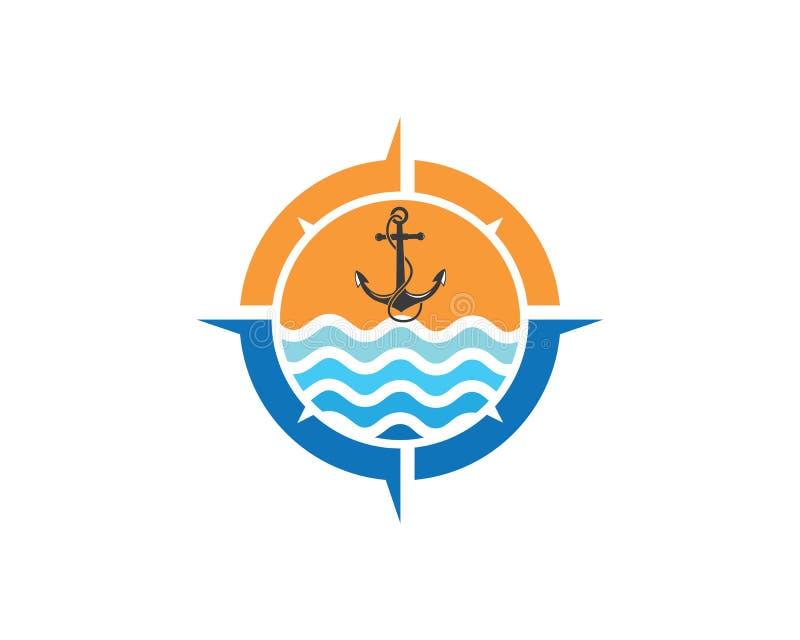 Kotwicowego ikona logo projekta szablonu cyrklowy wektor ilustracja wektor