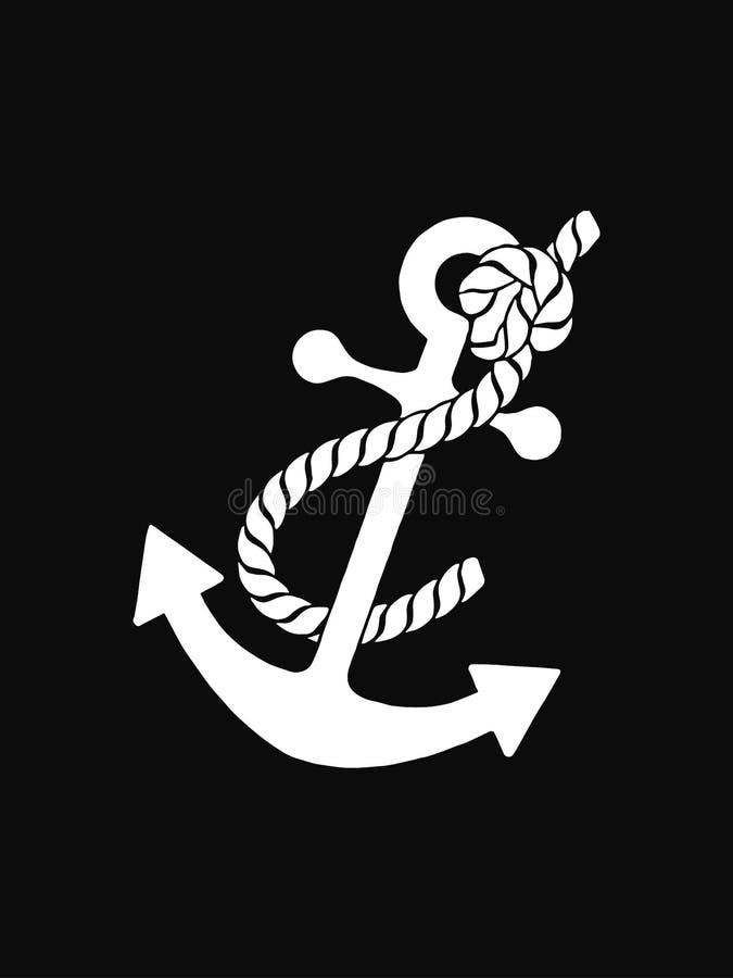 Kotwicowego wektorowego logo ikony Nautycznego morskiego dennego oceanu łódkowaty ilustracyjny symbol Odizolowywaj?cy na czarny t ilustracja wektor