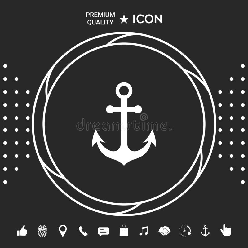Kotwicowy ikona symbol royalty ilustracja