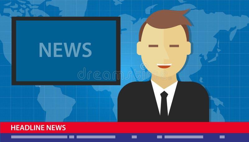 Kotwicowy mężczyzna wiadomości nagłówek łama tv ilustracja wektor