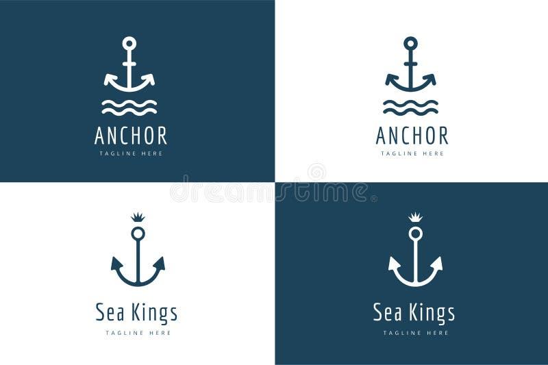 Kotwicowy wektorowy logo ikony set Morze, rocznik lub ilustracji