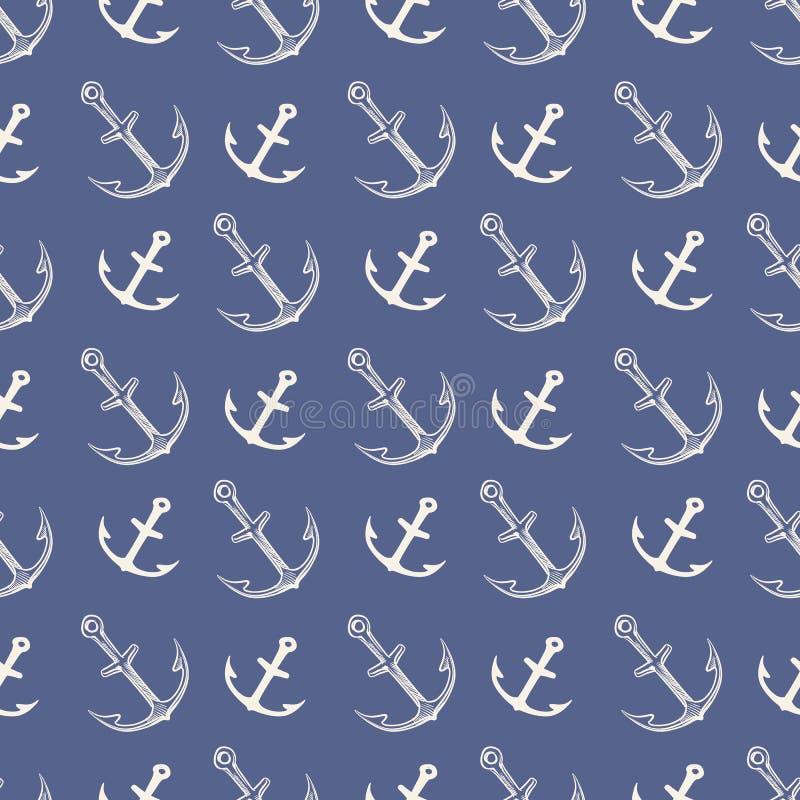 Kotwicowy wz?r Żelazne ciężkie sylwetka rocznika kotwicy dla dennej łodzi i oceanu wysyłają logo ilustracja odizolowywającą wekto royalty ilustracja