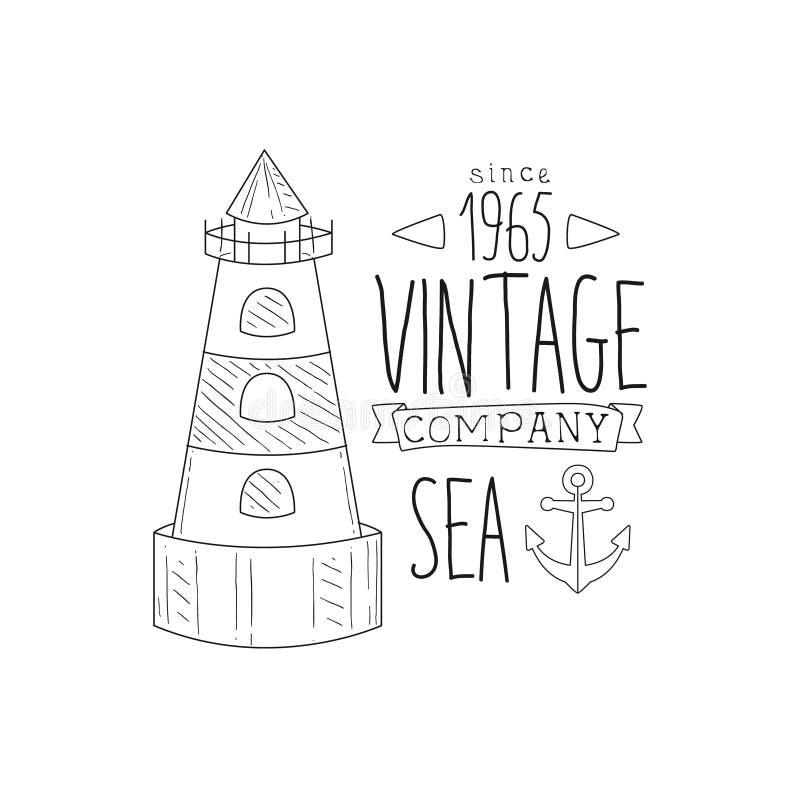 Kotwicy I latarni morskiej rocznika morze I Nautyczna ręka Rysujący symbolu nakreślenia etykietki szablon ilustracja wektor