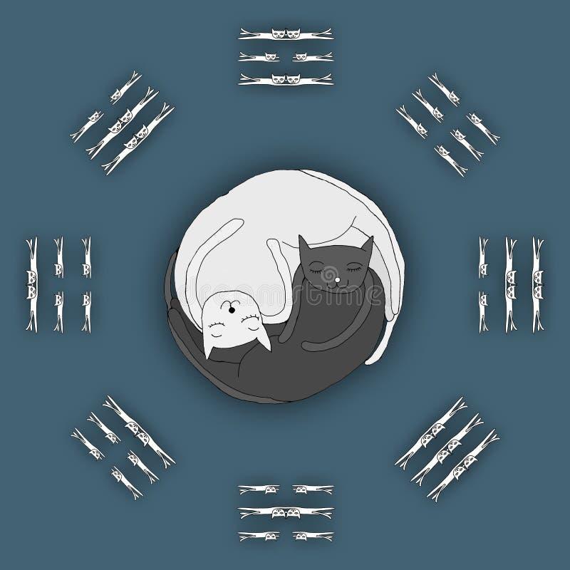 Koty śpi w kształcie Zen, Yin Yang royalty ilustracja