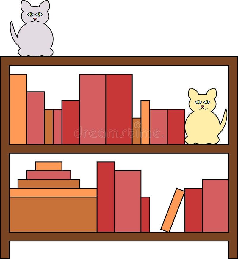 koty biblioteczki ilustracja wektor