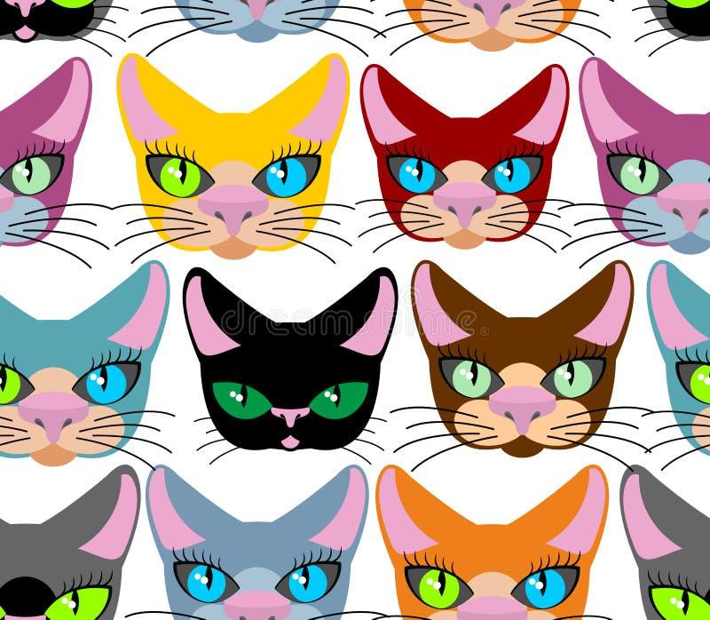 koty deseniują bezszwowego Wiele różni zwierzęta domowe Wektorowy tło ilustracja wektor
