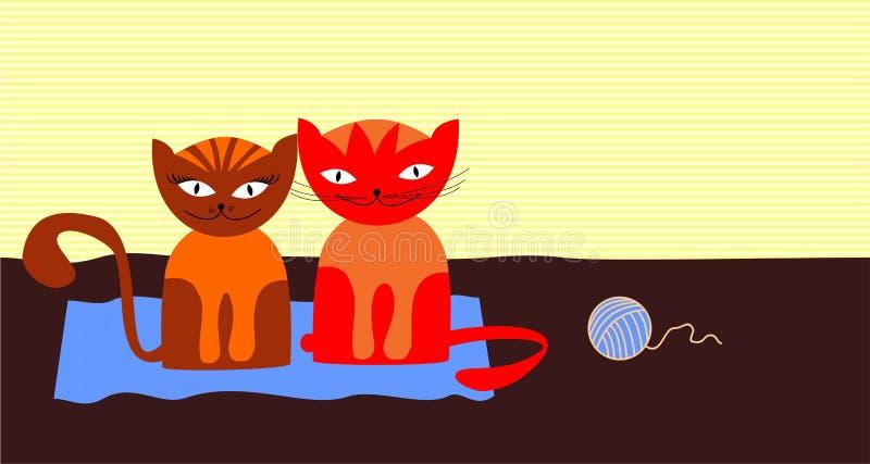 koty dwa royalty ilustracja