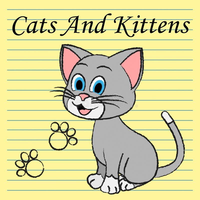 Koty I Koci Kocą się przedstawienie kiciuni Puss royalty ilustracja