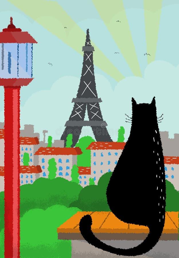 Koty i miasto widoki Wieża Eifla, Paryż, Francja/ ilustracji