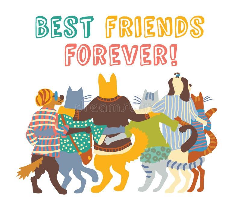 Koty i psów zwierząt domowych przyjaciół grupowi uściśnięcia odizolowywają ilustracji