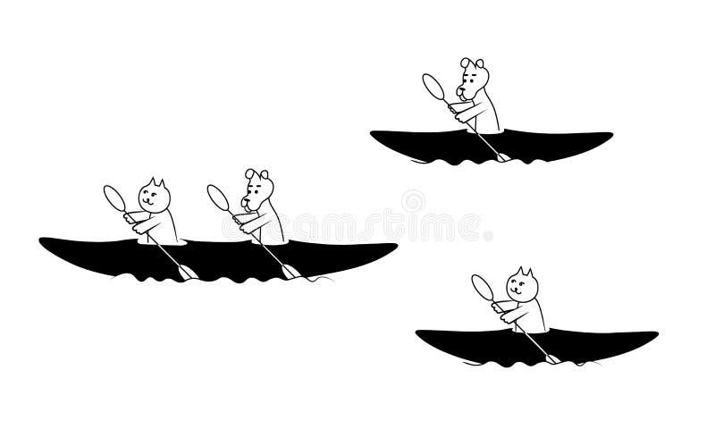 Koty i psa paddle czółno Wektoru konturowy czarny wizerunek ilustracja wektor