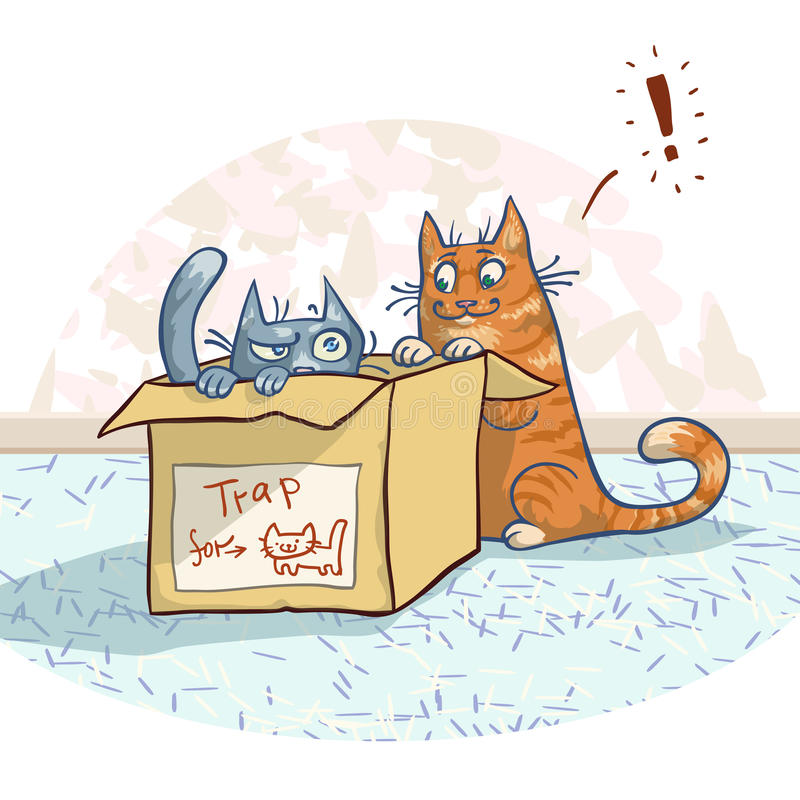 Koty i pudełko royalty ilustracja