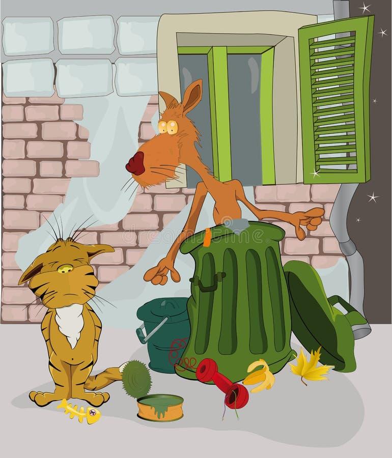 Koty i pył royalty ilustracja