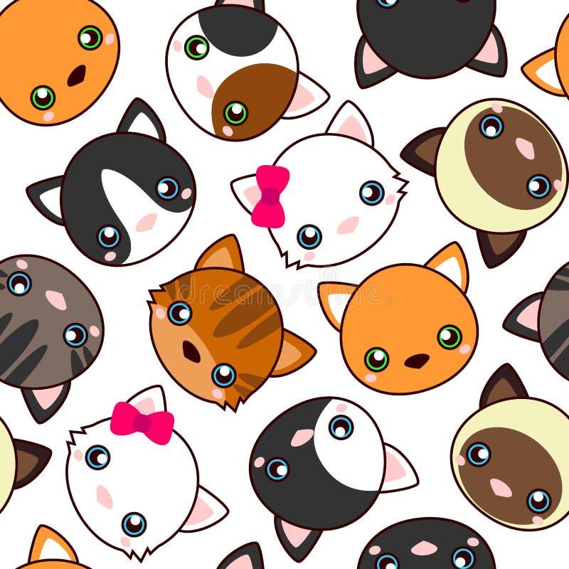 Koty Kreskówka wektorowy bezszwowy wzór, tapeta ilustracja wektor
