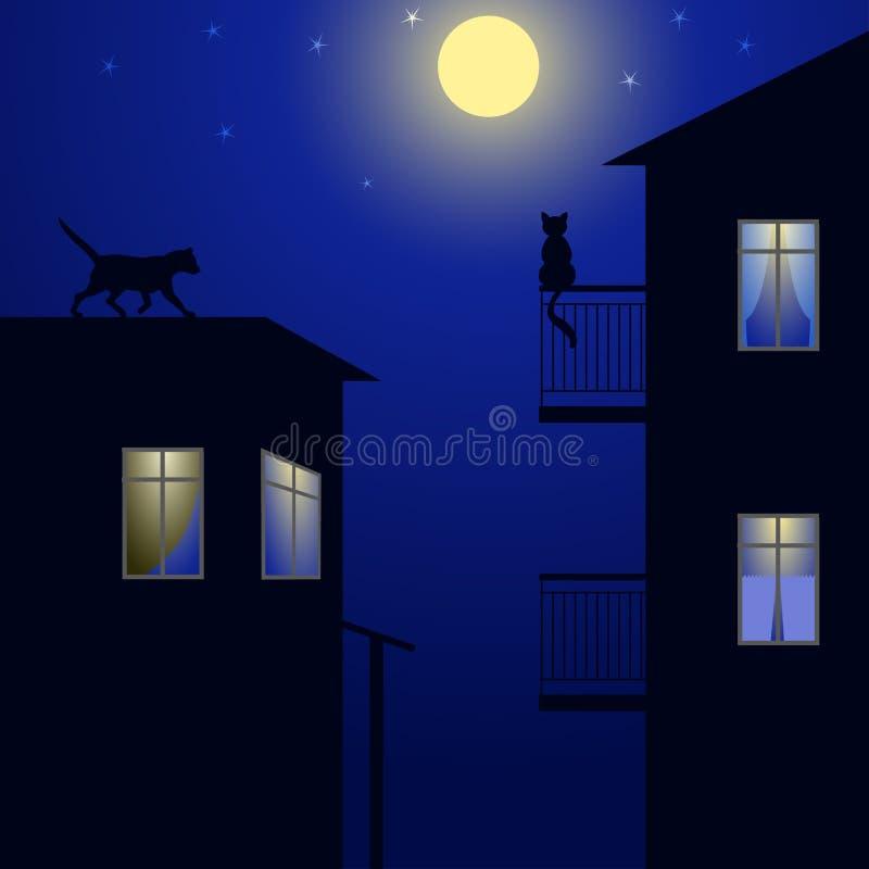 Koty na dachu ilustracja wektor